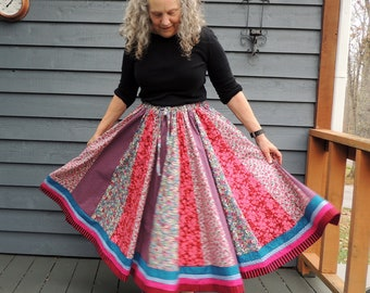 Patchwork Skirt, Long Panel skirt, Floral Skirt, Slimming Skirt,