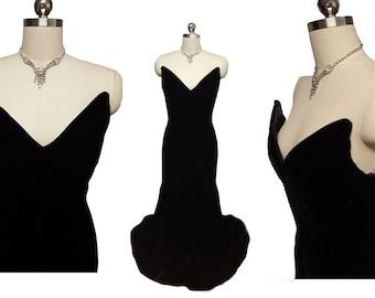 Spectacular Vintage Victor Costa Saks Fifth Avenue Velvet Evening Gown designer evening gown victor costa dress saks 5th ave evening go
