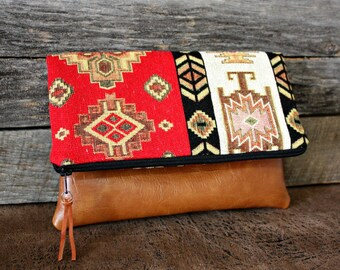 Southwestern Tribal Style Fabric Upholstery Foldover Clutch