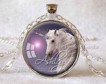 UNICORN PENDANT CUSTOMIZED Unicorn Necklace Purple White Personalized Necklace Fantasy Jewelry Horse Lover Gift Unicorn Lover Gift