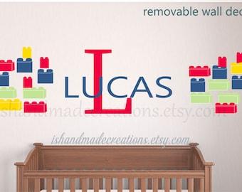 Blocks building blocks Wall Decal Nursery wall decal primary colors building block wall decal