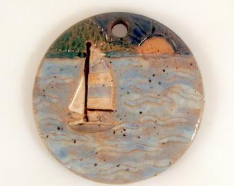 Large Glazed Pottery Pet Cremains Motif Pendant or Ornament - Custom Memorial Pet Cremation Keepsake -  SAILING AWAY