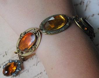 Butterscotch Candy--Antique Victorian Art Deco Amber Glass Brass Brooch Rhinestone BRACELET