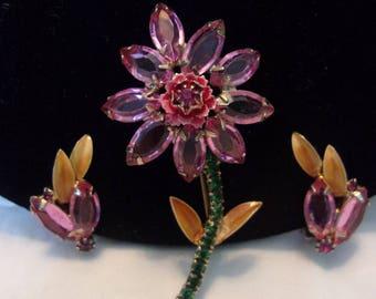 D&E Juliana Pink Glass Green Rhinestone Flower Yellow Enamel Leaf Brooch Pin Earrings Set