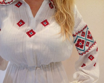 Vintage Ukrainian folk dress, ukrainian embroidery, ukrainian dress UK 8-10, EU 36-38, vyshyvanka, linen ukrainian dress, Ethnic dress