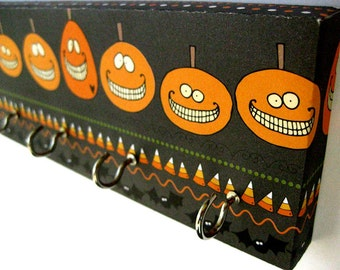 "Halloween Pumpkin Key Rack or Jewelry Holder, Black and Orange, Pumpkins, Candy Corn, Bats, Silly Spooky, Jack O Lantern ""Halloween Pumpkin"
