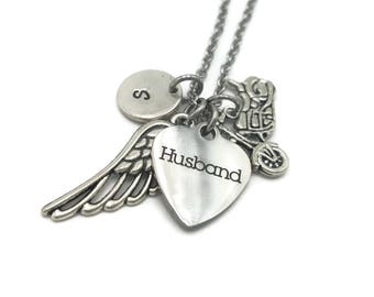 In Memory of Husband, Bereavement Gift, Loss of Husband, Sympathy Gift, Personalized Memorial Necklace with Angel Wing and Motorcycle