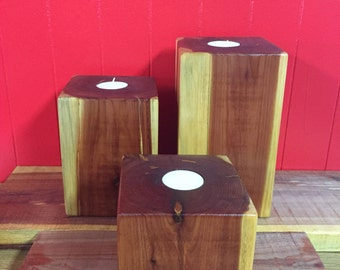 Cedar Tealight Candle Holder Set/3