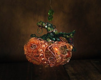 Wire Wrapped Pumpkin Halloween or Thanksgiving Autumn Fall Ornament with Gemstones and Pearls.