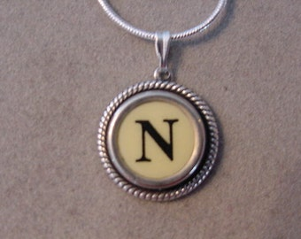 Typewriter key jewelry necklace CREAM  LETTER N  Typewriter Key Necklace - Initial N serif font Initial Necklace N