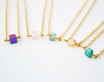 Tiny Necklace, Tiny Crystal  Necklace, Crystal Necklace, Dainty Gold Necklace, Delicate Necklace, Dainty necklace Gold, Choker, Gold Choker