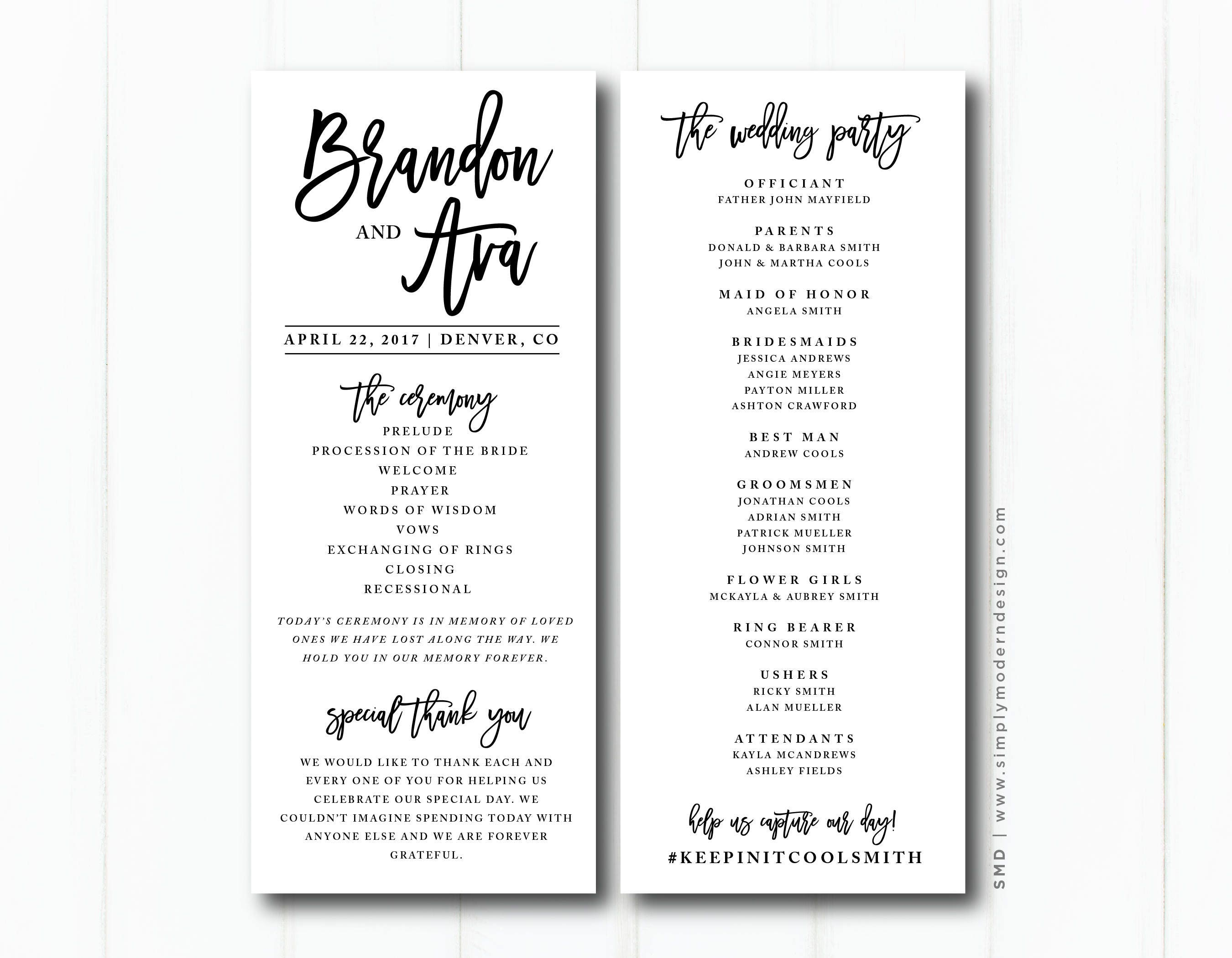 modern wedding ceremony program wedding party wedding