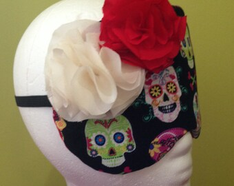 Day Of The Dead 100% Silk Backed Sleep Mask With Silk Rosettes