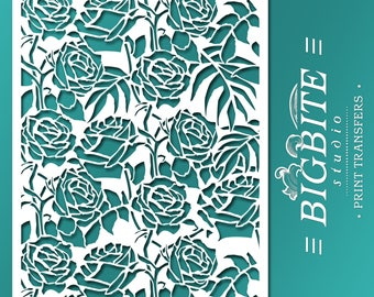 Shabby Chic STENCIL: Wild Roses Vintage Floral Pattern (Furniture Print Transfer) #046