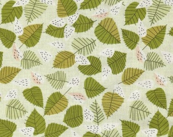 Forest Leaves Fabric - The Lovely Hunt by Lizzy House for Andover - Leaf in Green - Fabric by the Half Yard