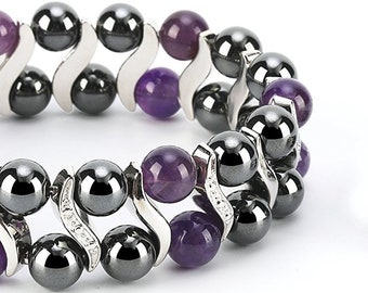 Amethyst Elegant Womens Hematite Magnetic Therapy Healing Stone Bracelet & Ring Set Pain Relief for Arthritis and Carpal Tunnel