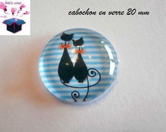 1 cabochon clear 20mm turquoise cat theme
