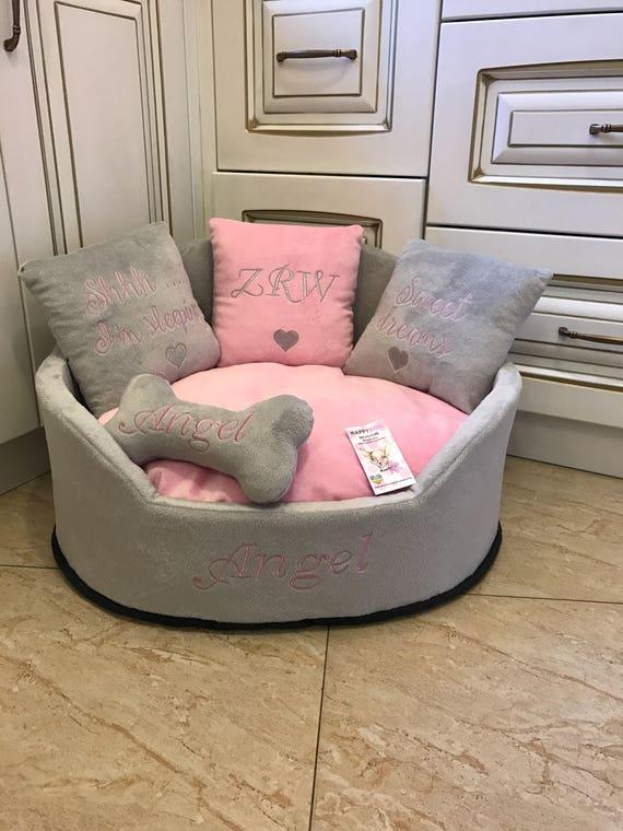 Light grey and baby pink princess dog bed Designer pet bed