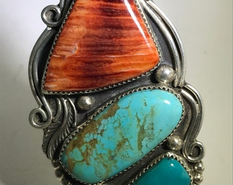 Navajo John Chavez Massice Turquoise and Spiny Oyster Ring Sz 8.25