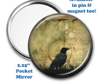Gothic Crow Magnet, Vintage Crow Pocket Mirror, 2.25 Inch Crow Pin, Antique Crow, Pagan Gift