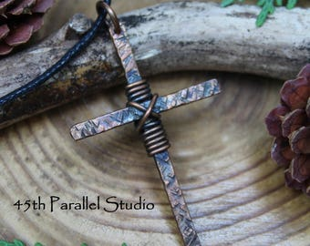 Mens Cross Necklace, Rustic Cross Pendant, Mens Christian Jewelry, Religious Jewelry, Cross Necklace, Rustic Cross Necklace, Leather Cord