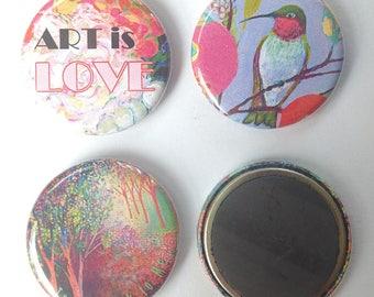 Pretty in Pink Art Magnet Set, 3 magnets, 1.25 in each, by Jenlo