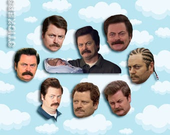 """Ron Swanson Expressions Sticker Pack 8 ct 2 x 1.5"""" - Parks and Rec - Parks and Rec Ron - Ron Swanson Stickers - Ron Swanson Gift"""