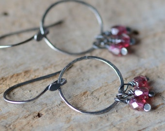 Sterling Silver Hoop Earrings Hand Forged Bohemian Style Earrings Artisan Textured Hoops Pink Berry Glass Cluster Earrings