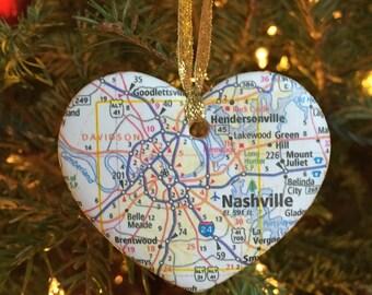 Nashville Map Ornament