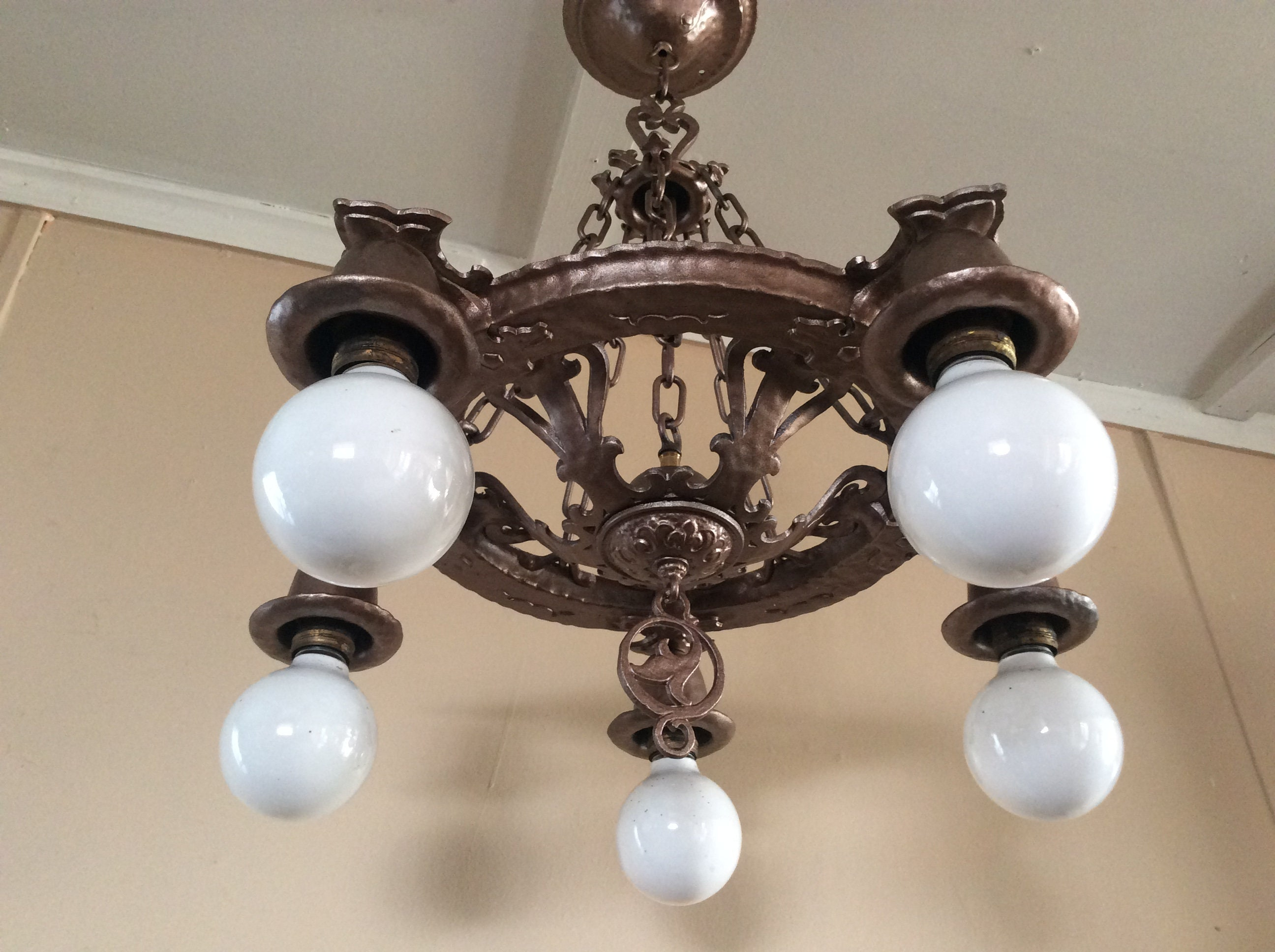 Antique spanish revival chandelier virden dog head marked 1930s arubaitofo Gallery