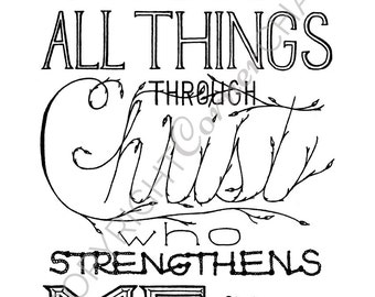 Philippians 4:13 Embroidery Pattern, PDF Embroidery Pattern, Bible Verse Embroidery, I Can Do All Things, Embroidery PDF, Embroidery Pattern