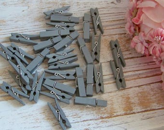 Set of 29 Gray Mini Clothespins, Clothespin Set, Clothespins, Gray Clothespins, Shabby and Chic Clothespins, Mini Clothespins