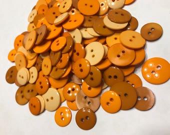 20 piece assorted orange / honey tone acrylic button mix, 15-20 mm (B4)