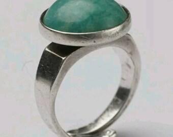 David Andersen Vintage Norwegian Sterling Silver and Amazonite Modernist Ring
