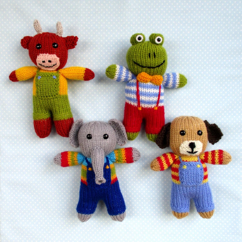 Cow, elephant, frog, dog - 4 toy animal doll knitting patterns - PDF ...