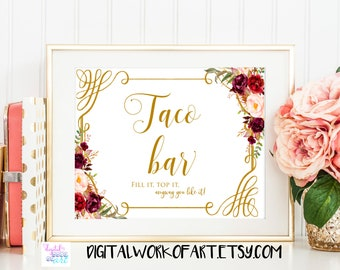 Floral Taco Bar Sign, Fiesta Party Decorations Sign, Fiesta Wedding Bridal Shower Taco Printable, Instant Download, Floral boho, #LC