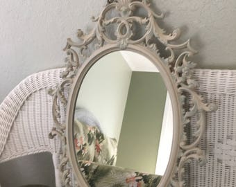 VTG Large Burwood Scrolled Mirror, Ivory~Almond Satin w/Turquoise accents, Ornate Oval Wall Mirror, Cottage/Shabby Chic, Matching Shelf