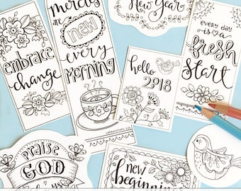 2018 New Year NEW MERCIES New Day Color-Your-Own Bookmarks  Bible Journaling Tags Tracers INSTANT download Scripture Printable Christian