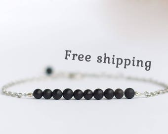 Shungite bracelet, Black bracelet for women, Shungite jewelry, Black stone bracelet, Beauty gift for women, Black bead bracelet for women