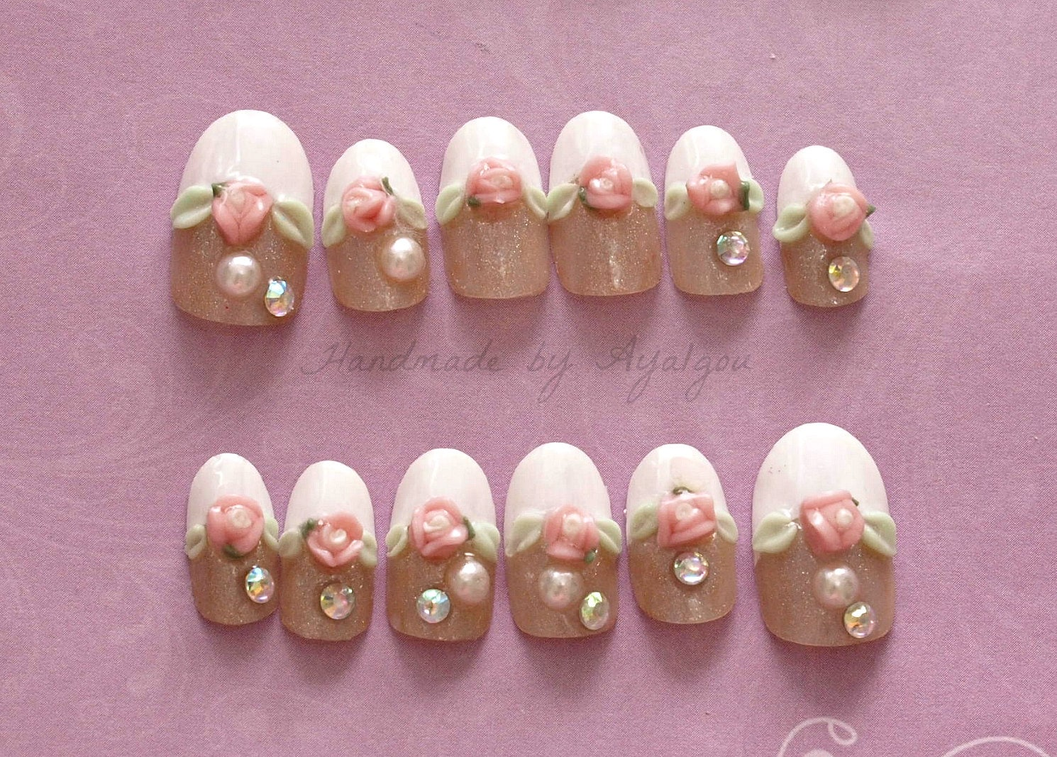 Lolita nail, fake nails, french tips, bridal nail, 3D nail, kawaii ...
