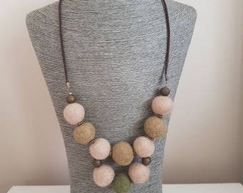 Cream Felted Necklace