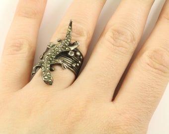 Vintage Lizard Marcasite Design Ring 925 Sterling Silver RG 3268