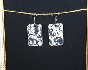 Raven & Feathers wood earrings