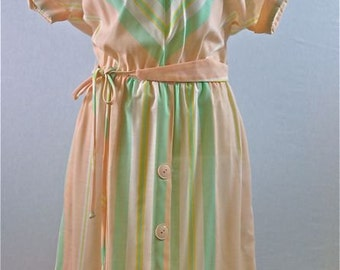 70s Chevron Belted Day Dress