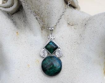 Blue Green Azurite Pendant, Silver Chain, Long