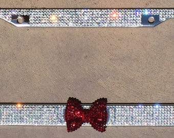 Crystal Rhinestone Bling License Plate Frame with Garnet Red Bow,  Bling Car accessory for Women Girls