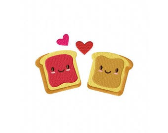 Peanut butter and jelly PBJ perfect love machine embroidery design