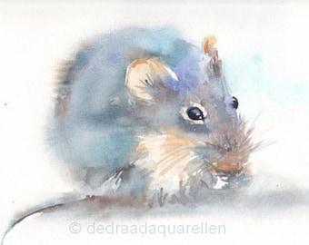 Little mouse. Original watercolour.