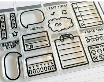 planner stamps, planner icon stamps, label stamps, speech bubble stamp, planner rubber stamps, vertical planner, ECLP, happy planner, MAMBI