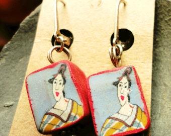 Vintage Designer Fimo Earrings Geisha Girl Handmade Artisan Fimo Clay Art Sterling Silver Setting Unusual Earring Funky Art Birthday Jewelry